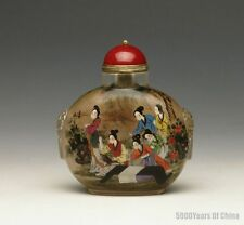 "3.48"" Wonderful Hand Made Inside Painted ""Ladys"" Glass Snuff Bottle"