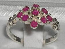 Unusual Solid Sterling Silver Natural Ruby Ring with English Hallmarks