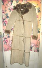 Brandon Thomas WINTER Beige SUEDE Leather LONG Jacket PLUSH SHERPA Trench Coat S