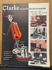 Vtg Clarke Floor Machine Co Brochure Maintainers Polisher Buffer Fm 14 15 17 20