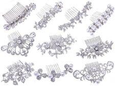 Hot Silver Bride Wedding Flower Pearl Hair Jewelry Comb Clip Crystal Rhinestone