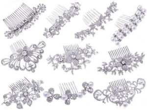 Hot Silver Bride Wedding Flower Pearl Hair Jewelry Comb Clip Crystal Rhinestone