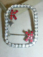 """Vintage Pin Rhinestone Brooch King of Diamonds 1"""" X 1 1/2"""" Clear & Red Stones"""