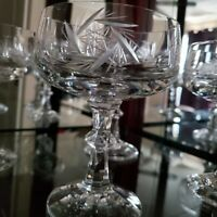 Set of 4 Bohemian Crystal champagne tall sherbet crystal glasses