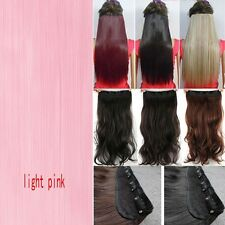 US Real Long 100% Natural Extension Clip in HAIR EXTENTIONS 5 Clips AS Human PT9