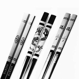 Stainless Steel Anti Skid Dragon Chopsticks Sushi Portable Chinese Food Stick