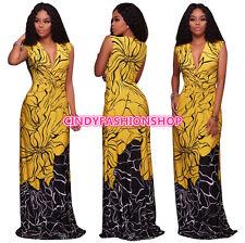 USA Summer Women Ladies Sleeveless Deep V-Neck Print Maxi Long Dress