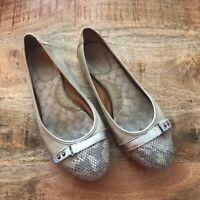 BORN 8.5 Beige Leather Masia Faux Snakeskin Textured Ballet Flats Shoes Women