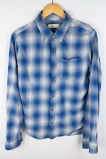 Hollister Men Casual Shirt Blue Check Cotton size S