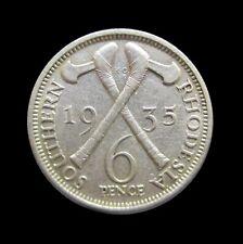 SOUTHERN RHODESIA 6 PENCE 1935 GEORGE V SILVER KM 2 #4119#