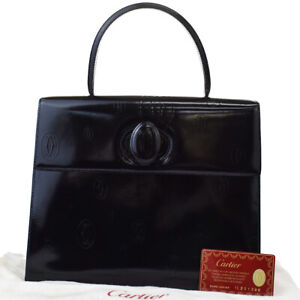 Authentic Cartier Logos Happy Birthday Hand Bag Patent Leather Black 76AC290