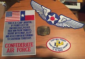 Large Confederate Air Force Texas CAF Ghost Squadron Patch ,belt buckle & more !