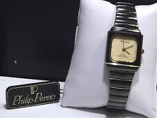 Brand New Womens Philip Persio Black Watch with Ivory Color Dial & New Battery!