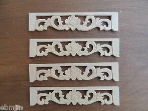 B.Carved Wood Panel 4pcs/set w Flowe