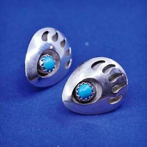 Native American sterling silver earrings, 925 bear paw studs with turquoise