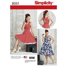 Simplicity Sewing Pattern 8051 SZ10-18 Misses Rockabilly Dress Full Skirt