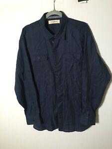 Tommy Bahama Men's Navy Blue Button Shirt Size XL Linen Cotton Blend