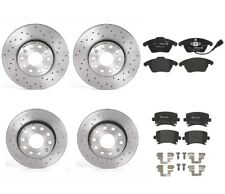 Front Rear Brembo Xtra Brake Kit Disc Rotors Low-Met Pads For A3 Golf Std Brakes