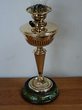 A quality Victorian brass oil lamp with pottery base and chimney Circa 1892