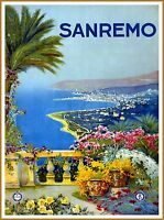 Sanremo Italy Vintage Italian Travel Advertisement Art Poster Print