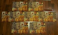 Thanksgiving Autumn Fall Tapestry Table Runner and Placemats Set of 4 Pumpkins