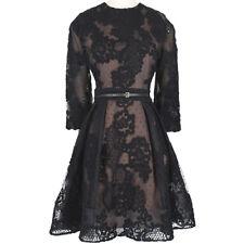 Elie Saab luxueux soie noire-mélangé dentelle Overlay Banded Waist Robe FR40 UK12