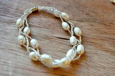 Water Cultured Pearls and beads Multiple Strands Bracelet with Fresh