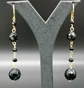orecchini da donna pendenti rosario argento 925 agata nera FATTI IN ITALIA