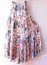 NEW~SOLITAIRE~Peach & Blue Crochet Lace Tiered Peasant Boho Skirt~4/6/2/S/Small