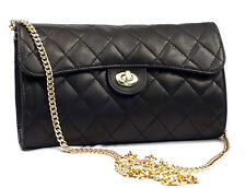 Made in Italy GENUINE LEATHER Clutch Handbag Quilted Shoulderbag Black Chain