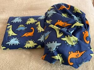 NEW Boys Blue Green Orange Dinosaurs Sheet Set Flat Fitted 100% Polyester