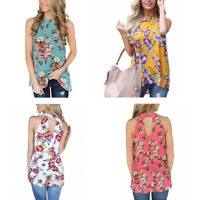 Women's Summer Floral Vest Loose Tops Casual Sleeveless Blouse Tank Tops T-Shirt