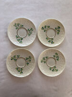 Antique Belleek Shamrock Basketweave Saucers Only, FOUR 3rd Black Mark, 1926-46
