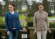 King Cole Ladies Super Chunky Knitting Pattern Cable Knit Jumper & Cardigan 4611