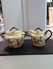 Antique imperial russian porcelain kuznetsov sugar bowl and creamer