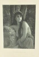 Gravure ancienne à l'eau forte XIXe- E HEBERT « HEROS SANS GLOIRE» salon 1888