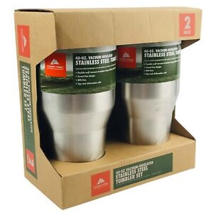 Set of 2 New Ozark Trail 40 oz Stainless Steel Tumblers Vacuum Insulated Cups