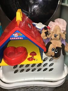 Vintage Pound Puppies Pup's Pad Playset 1986 Tonka Dog House Carrying Case dish