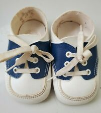 VINTAGE!Crib Shoes Baby Boy Soft Bottom Size 0 Newborn White blue