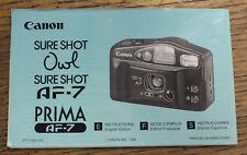 Original Canon Prima AF7 Sureshot Hibou appareil photo compact MANUEL D'INSTRUCTION BOOKLET