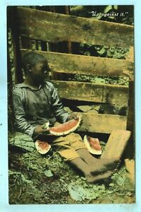 """Vintage, """"Up Against It"""", A Young Black Guy Asleep Against a Fence,eating Mellon"""