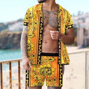 Men's 2 Piece Tracksuit Short Sleeve Top and Shorts Hawaiian Stylish Beach Set
