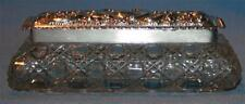 Birmingham England Crystal Glass Dresser Box Sterling Silver Lid 1907 Antique