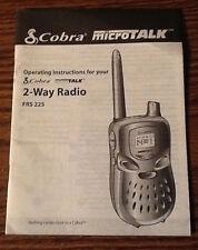 Cobra MicroTalk 2-Way Radio Frs 225 Operating Instructions Manual