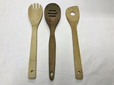 FOOD NETWORK and Other wooden cooking spoon Lot Of 3 Slotted Prong