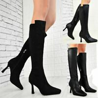 Womens Ladies Low Heel Calf Fashion Boots Stretchy Party Winter Shoes Size New