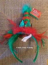 New Headband Hat Red Green Christmas Dress up Fun Hat Feather Sparkles