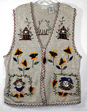 White Stag 16W Sweater Vest Zipper Front Multi Color Fall Pattern Stretch Cotton