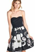 WOMENS FLORAL PRINT DRESS TRINA TURK STRAPLESS PERFORATED BLACK WHITE SIZE 2