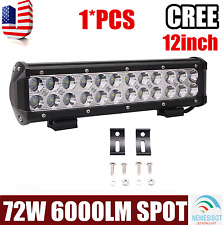 "12""inch 72W Cree Led Work Light Bar Spot Beam SUV Boat Driving Lamp Offroad 4WD"